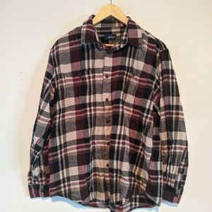2/$12 3/$15 Burgundy plaid Basic Edition Button Up